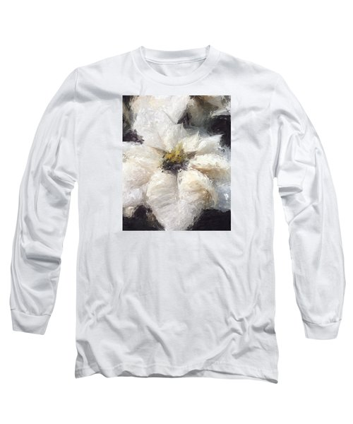 Long Sleeve T-Shirt featuring the painting White Poinsettias Christmas Card by Jennifer Hotai