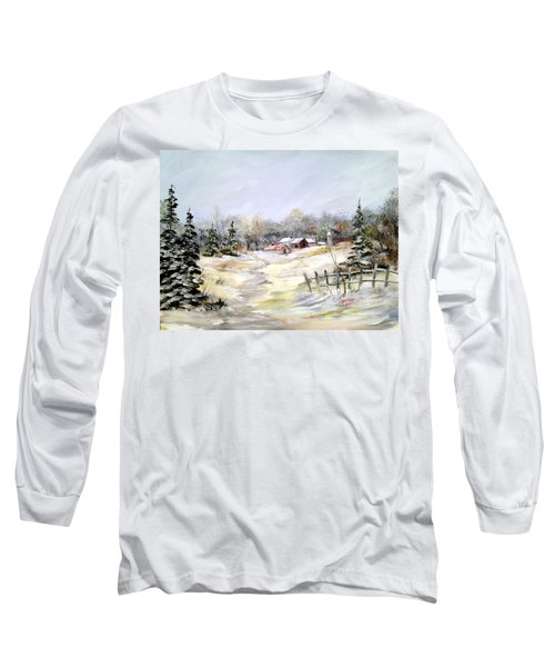 Long Sleeve T-Shirt featuring the painting Winter At The Farm by Dorothy Maier