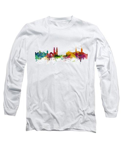 Zurich Switzerland Skyline Long Sleeve T-Shirt by Michael Tompsett