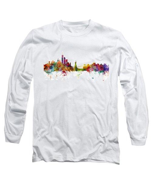 New York Skyline Long Sleeve T-Shirt by Michael Tompsett