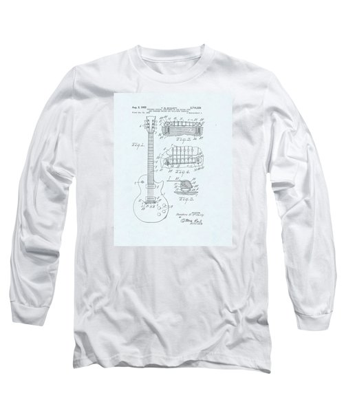Guitar Patent Drawing On Blue Background Long Sleeve T-Shirt