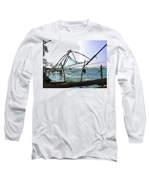Fishing Nets On The Sea Coast In Alleppey Long Sleeve T-Shirt