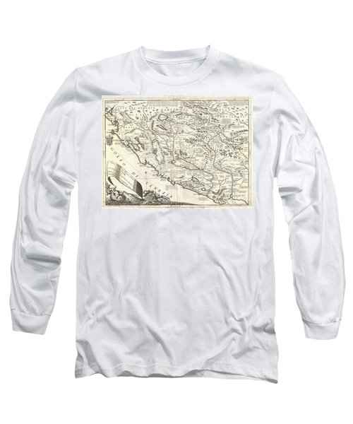 1690 Coronelli Map Of Montenegro Long Sleeve T-Shirt