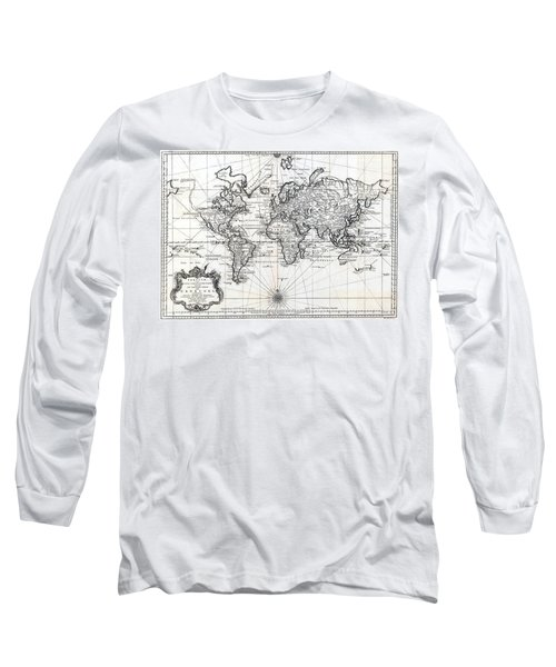 Long Sleeve T-Shirt featuring the photograph 1748 Antique World Map Versuch Von Einer Kurzgefassten Karte  by Karon Melillo DeVega