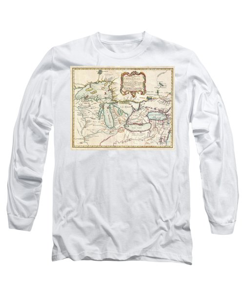 1755 Bellin Map Of The Great Lakes Long Sleeve T-Shirt