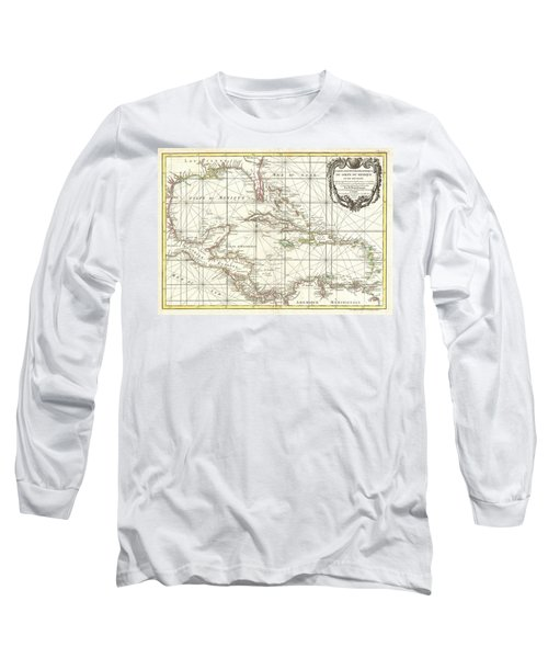 1762 Zannoni Map Of Central America And The West Indies Long Sleeve T-Shirt