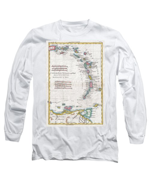 1780 Raynal And Bonne Map Of Antilles Islands Long Sleeve T-Shirt