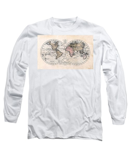 Long Sleeve T-Shirt featuring the photograph 1791 Antique World Map Die Funf Theile Der Erde by Karon Melillo DeVega