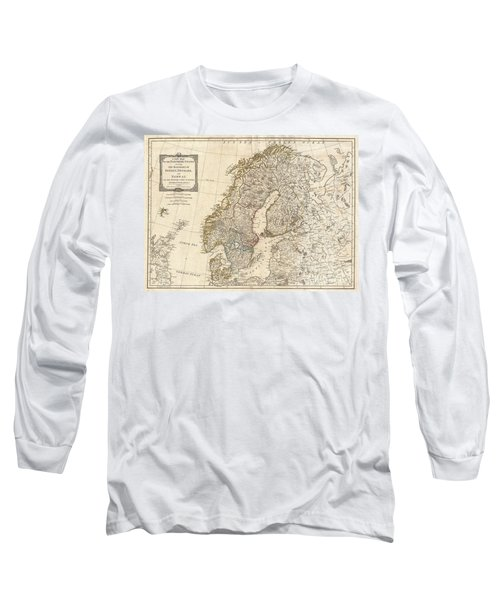 1794 Laurie And Whittle Map Of Norway Sweden Denmark And Finland Long Sleeve T-Shirt