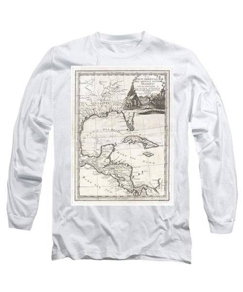 1798 Cassini Map Of Florida Louisiana Cuba And Central America Long Sleeve T-Shirt