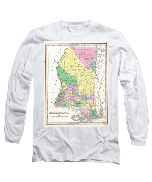 1827 Finley Map Of Mississippi Long Sleeve T-Shirt