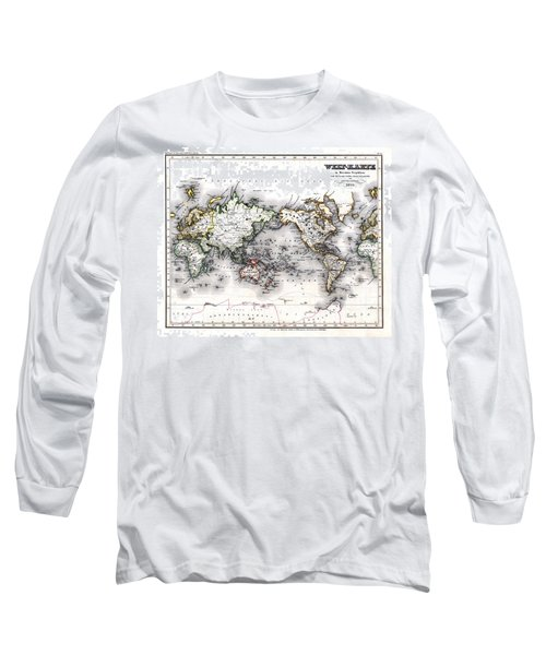Long Sleeve T-Shirt featuring the photograph 1850 Antique World Map Welt Karte In Mercators Projektion by Karon Melillo DeVega