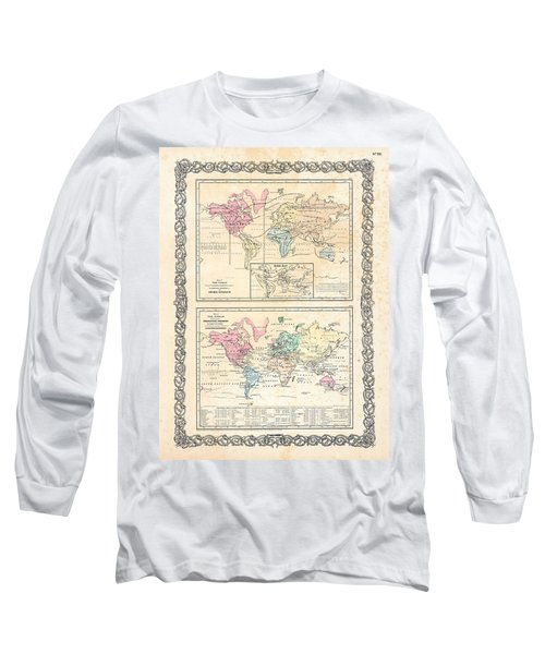 Long Sleeve T-Shirt featuring the photograph 1855 Antique First Plate Ortelius World Map Animal Kingdom World Commerce And Navigation by Karon Melillo DeVega