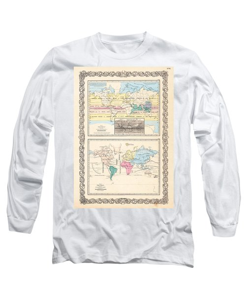 Long Sleeve T-Shirt featuring the photograph 1855 Antique World Maps Illustrating Principal Features Of Meteorology Rain And Principal Plants by Karon Melillo DeVega