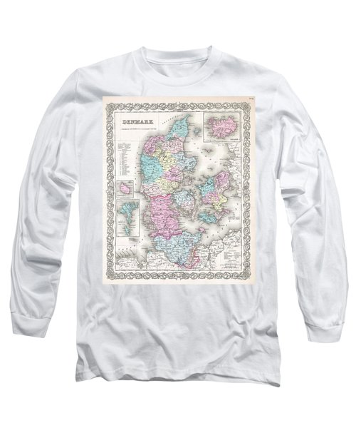 1855 Colton Map Of Denmark Long Sleeve T-Shirt