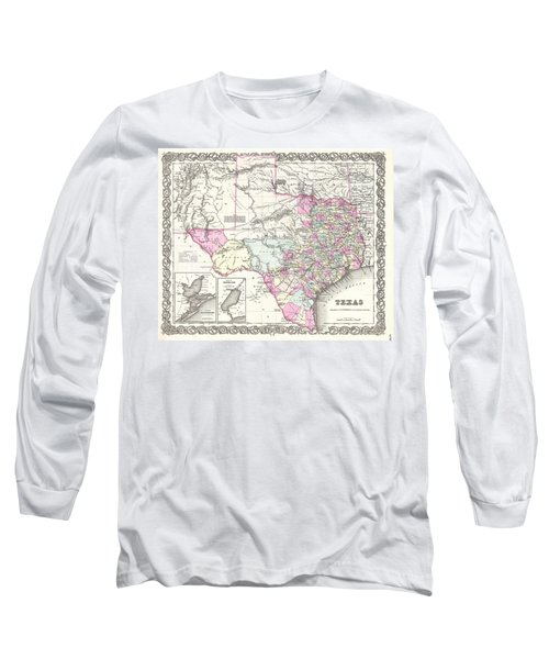 1855 Colton Map Of Texas Long Sleeve T-Shirt