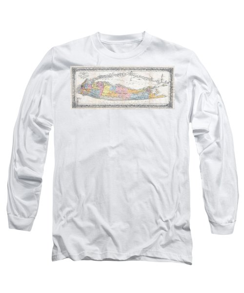 1857 Colton Travellers Map Of Long Island New York Long Sleeve T-Shirt