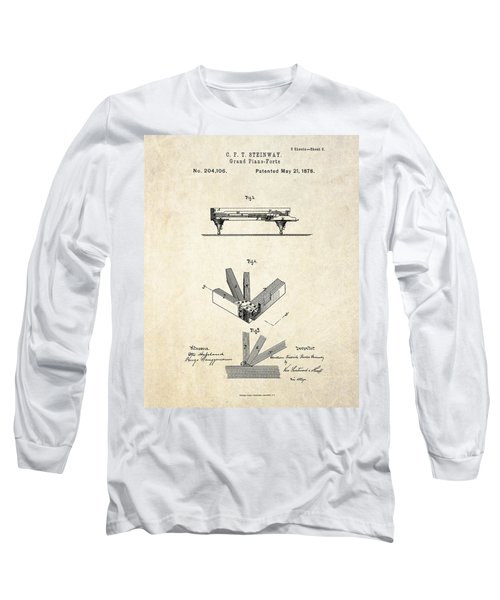 1878 Steinway Grand Piano Forte Patent Art S.2 Long Sleeve T-Shirt
