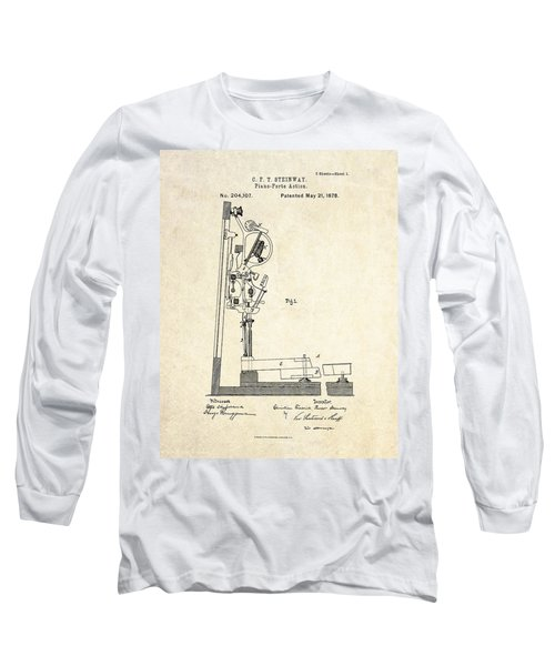 1878 Steinway Piano Forte Action Patent Art  Long Sleeve T-Shirt by Gary Bodnar