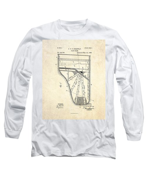 1885 Steinway Piano Frame Patent Art Long Sleeve T-Shirt by Gary Bodnar