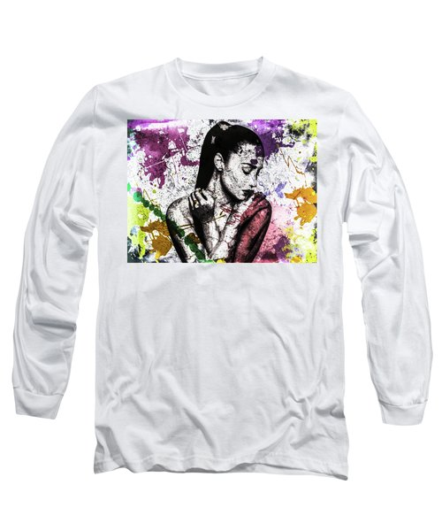Long Sleeve T-Shirt featuring the digital art Demi Lovato by Svelby Art