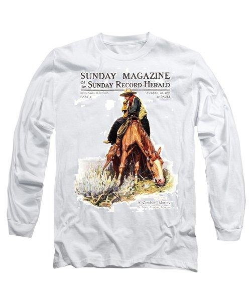 1900s Sunday Magazine Cover Lone Cowboy Long Sleeve T-Shirt