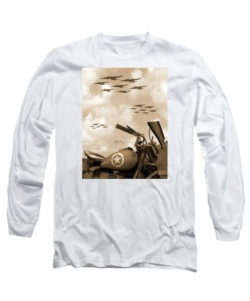 1942 Indian 841 - B-17 Flying Fortress' Long Sleeve T-Shirt by Mike McGlothlen