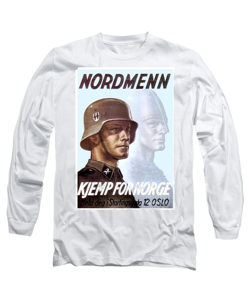 1943 - German Waffen Ss Recruitment Poster - Norway - Color Long Sleeve T-Shirt