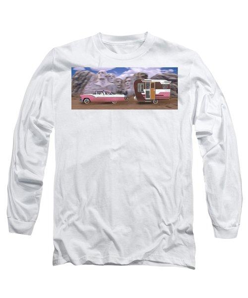 1950s Family Vacation Panoramic Long Sleeve T-Shirt