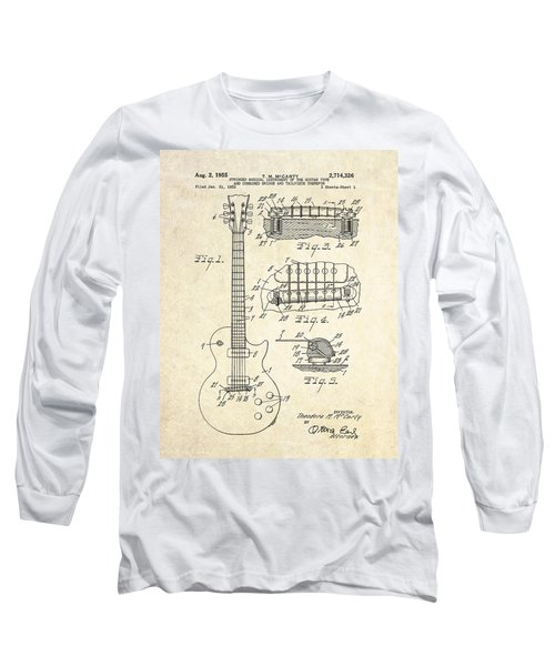 1955 Gibson Les Paul Patent Drawing Long Sleeve T-Shirt by Gary Bodnar