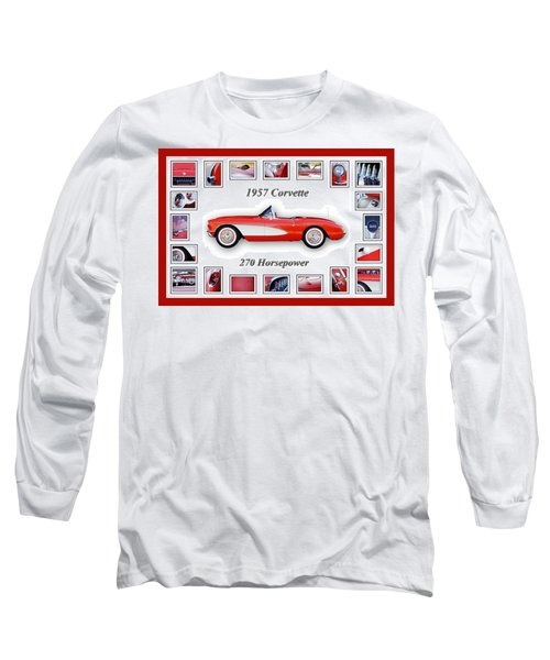 1957 Chevrolet Corvette Art Long Sleeve T-Shirt by Jill Reger