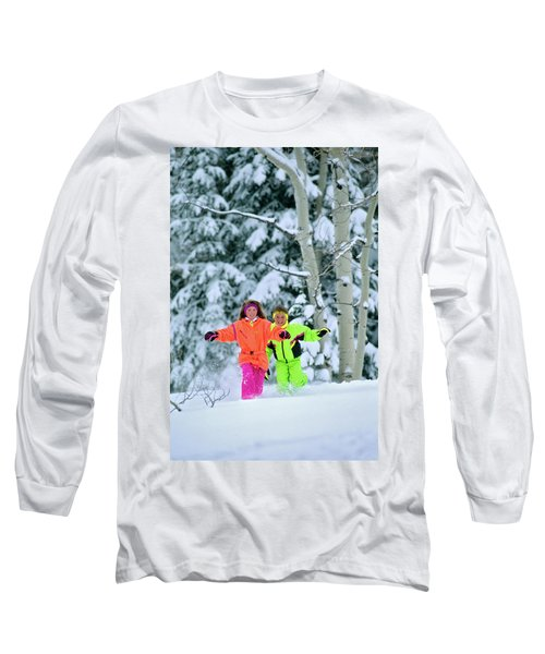 1990s Girl And Boy Running In The Snow Long Sleeve T-Shirt