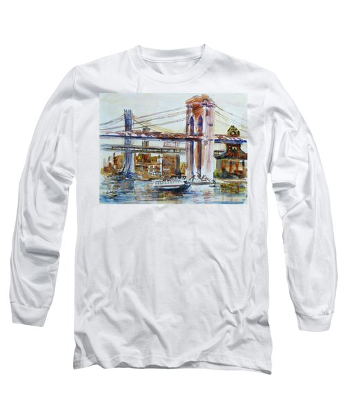 Long Sleeve T-Shirt featuring the painting Downtown Bridge by Xueling Zou