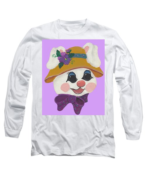 Long Sleeve T-Shirt featuring the painting Funny Bunny by Barbara McDevitt