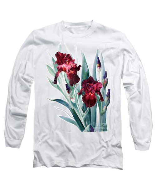 Dark Red Tall Bearded Iris Donatello Long Sleeve T-Shirt