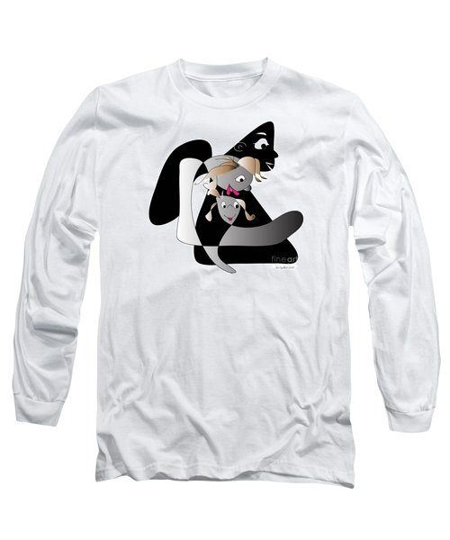 Long Sleeve T-Shirt featuring the digital art Just Baby And Me And Daddy Makes Three by Iris Gelbart