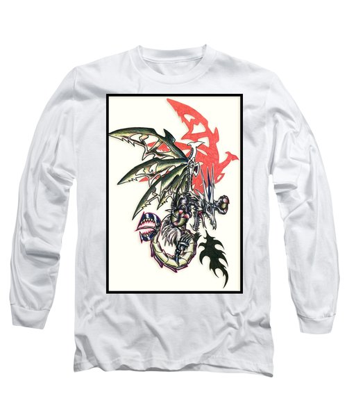 Long Sleeve T-Shirt featuring the painting Mech Dragon Tattoo by Shawn Dall