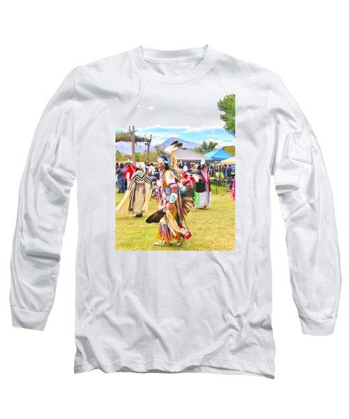 Paiute Powwow Long Sleeve T-Shirt by Marilyn Diaz