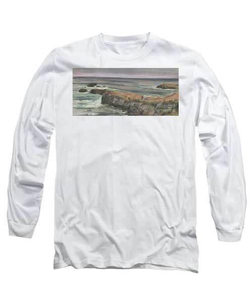 Long Sleeve T-Shirt featuring the painting Pescadero Beach by Donald Maier