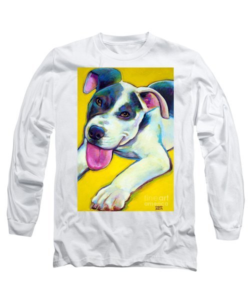 Long Sleeve T-Shirt featuring the painting Pit Bull Puppy by Robert Phelps