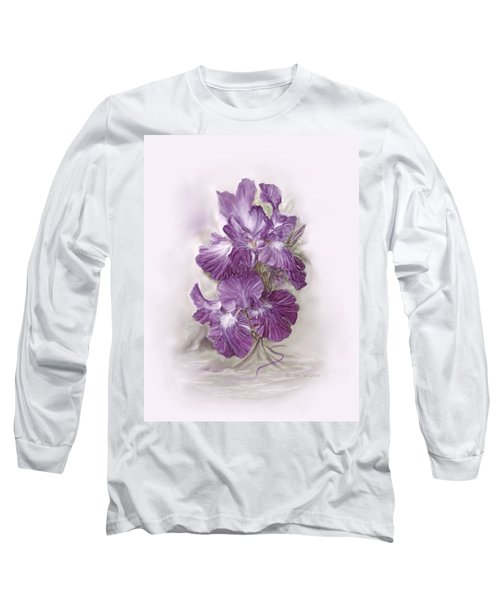 Purple Iris Long Sleeve T-Shirt by Bonnie Willis