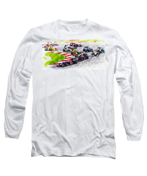 Sebastian Vettel Leads The Pack Long Sleeve T-Shirt