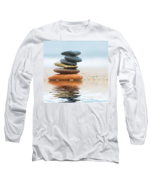 Stack Of Beach Stones On Sand Long Sleeve T-Shirt