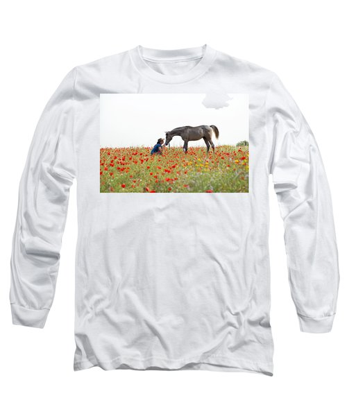 Long Sleeve T-Shirt featuring the photograph Three At The Poppies' Field... 4 by Dubi Roman