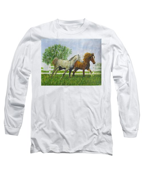 Two Horses Running By White Picket Fence Long Sleeve T-Shirt