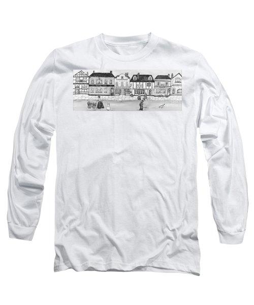 Long Sleeve T-Shirt featuring the painting Villaggio Antico by Loredana Messina