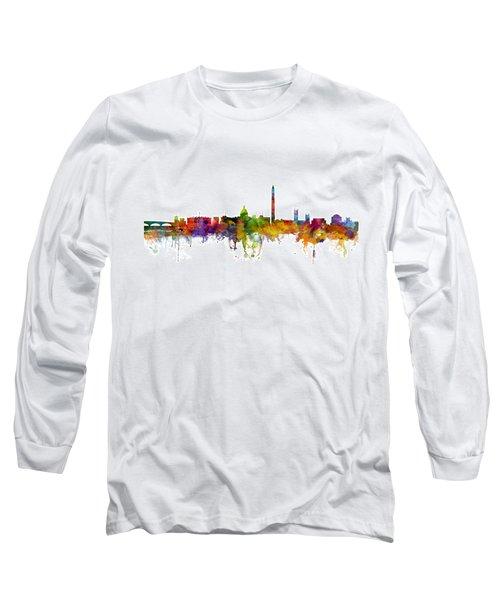 Washington Dc Skyline Long Sleeve T-Shirt by Michael Tompsett