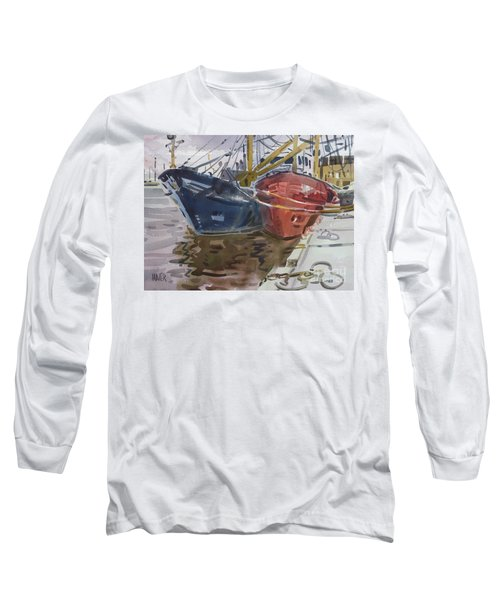 Long Sleeve T-Shirt featuring the painting Wexford Fishing Boats by Donald Maier