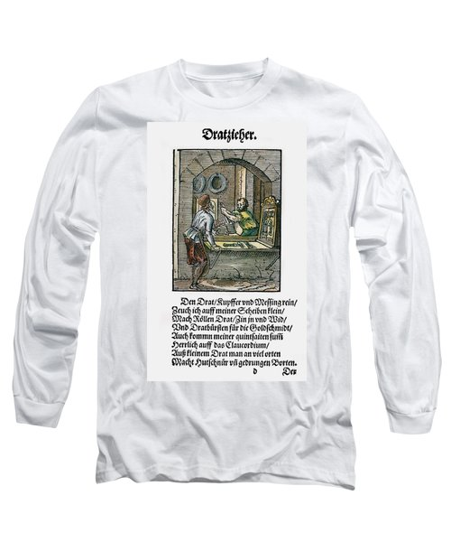 Long Sleeve T-Shirt featuring the drawing Wiredrawer, 1568 by Granger