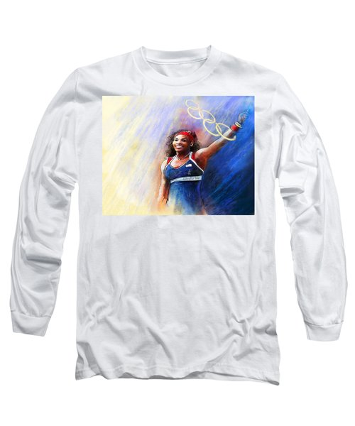 2012 Tennis Olympics Gold Medal Serena Williams Long Sleeve T-Shirt by Miki De Goodaboom